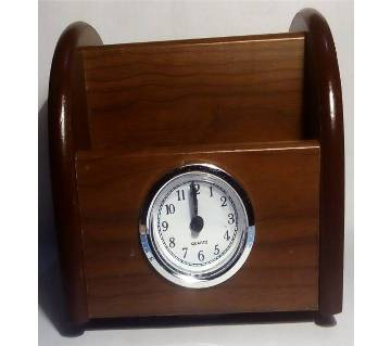 Moving Wooden Penholder Clock
