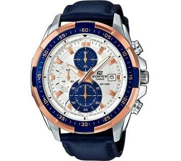 Casio Blue Leather Chronograph Watch For Men