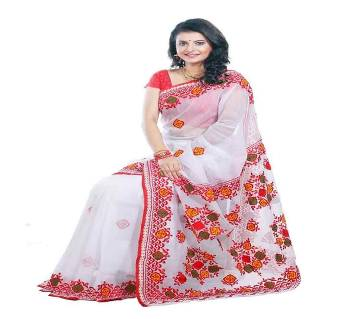 Pure Muslin Silk Embroidery Saree  With  Blouse Piece