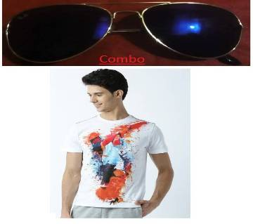 Gents half sleeve t shirt+ RAY BAN sunglasses for men copy