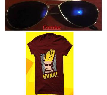 Gents half sleeve t shirt and Ray Ban sunglasses for men copy combo