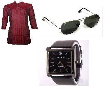 Semi long Cotton Punjab+Ray banaCopy)+Titan(Copy) Gents wrist watch Combo offer