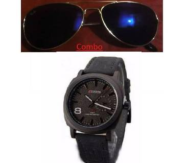 Ray Bang sunglasses for men copy and Curren gents watch combo