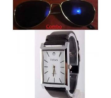 Ray Ban gents sunglasses copy and Titan gents watch copy combo