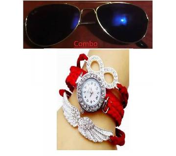 Ray Ban sunglasses for men copy and ladies bracelet watch combo