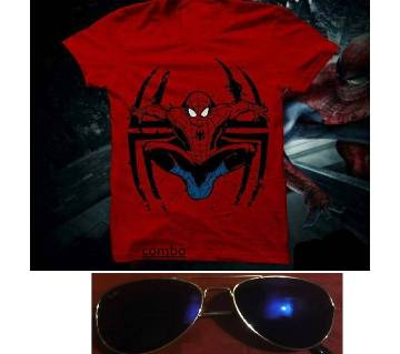 Spiderman mens t shirt and Ray Ban sunglasses for men copy combo