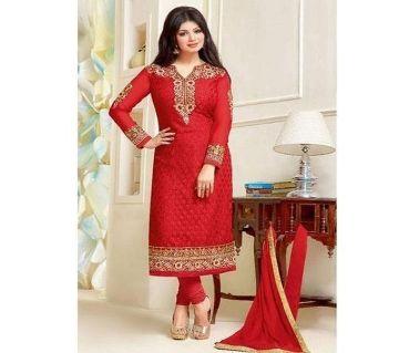 Unstitched Red Cotton Unstiched Block Printed Salwar Kameez For Women