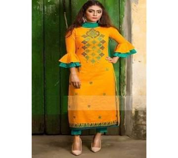 Unstiched block printed Rajdhani voyal cotton salwar kameez for woman