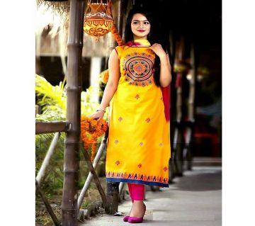 Unstitched Yellow Printed Cotton Salwar Kameez For Women