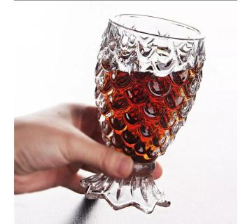 Embossed Clear Glass for Beer Drink Cup Fish Pattern
