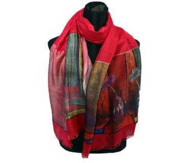 Floral Silk Print Hijab for Women - Red Rose