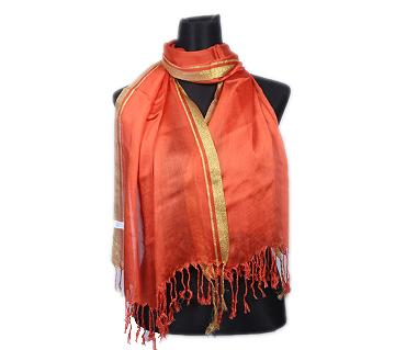 Orange Pashmina With Golden Border Hijab For Women