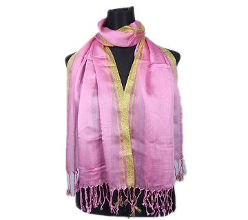 Light Pink Pashmina With Golden Border Hijab For Women