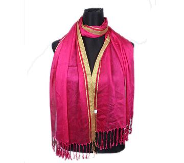 Pink Pashmina With Golden Border Hijab For Women