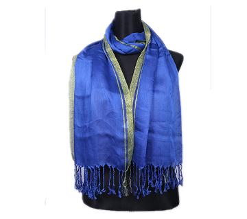 Blue Pashmina With Golden Border Hijab For Women