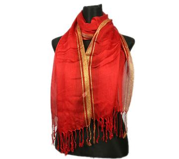 Red Pashmina With Golden Border Hijab For Women