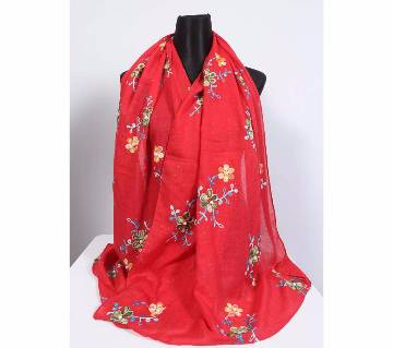 Red Cotton Embroidery Hijab