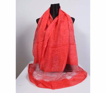 Red tosor stone worked hijab