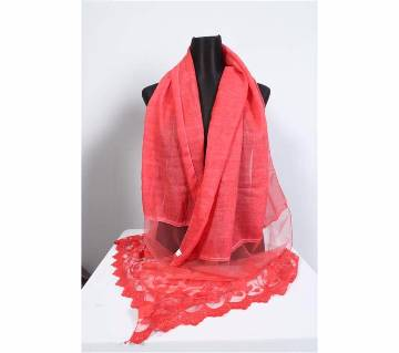 Red Cotton With Net Hijab