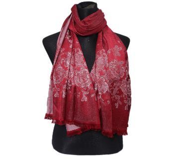 Dark Red Silk Hijab For Women