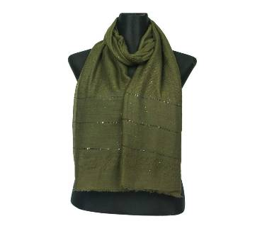 Olive Cotton Sequins Hijab/Scarf For Women