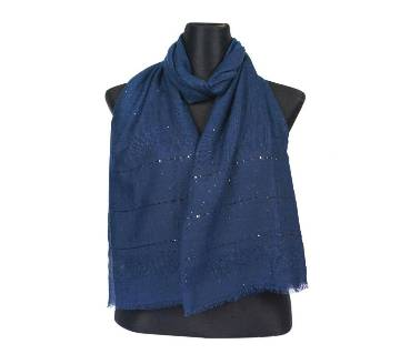 Blue Cotton Sequins Hijab/Scarf For Women