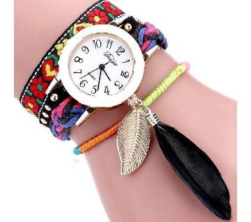 Ladies leaf design artificial leather wrist watch