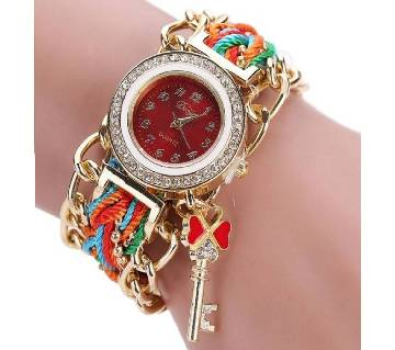 Red Nylon Bracelet Watch for Women