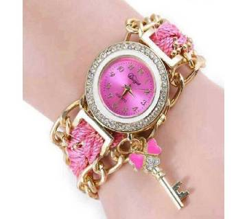 Pink Nylon Bracelet Watch for Women
