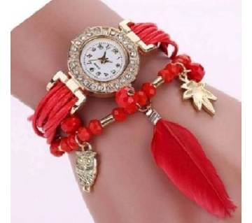 Red Alloy PU Leather Wrist Watch for Women