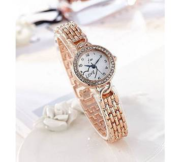 Golden Stainless Steel Analog Watch for Women