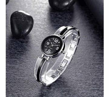 Black and Silver Stainless Steel Analog Watch for Women