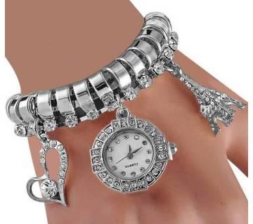 Silver Analog Bracelet Watch for Women