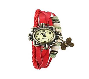 Red Leather Butterfly Vintage Watch for Women