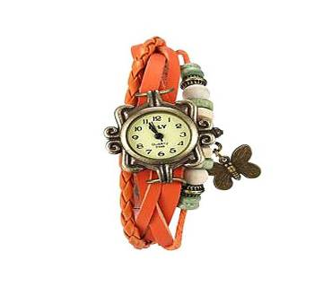 Orange Leather Butterfly Vintage Watch for Women