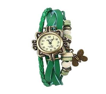 Green Leather Butterfly Vintage Watch for Women