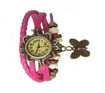 Hot Pink Leather Butterfly Vintage Watch for Women