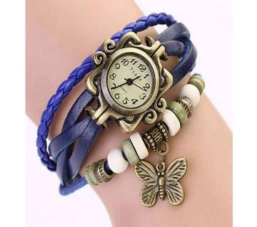 Blue Leather Butterfly Vintage Watch for Women