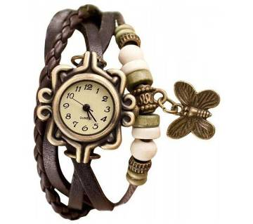 Black Leather Butterfly Vintage Watch for Women