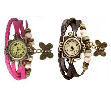 Combo Offer Leather Butterfly  Watch for Women