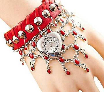 Leather Analog Watch For Women - Red