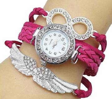 Hot Pink Leather Watch for Women
