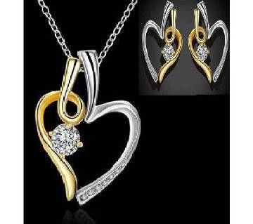 Cubic Zirconia Silver Plating Necklace & Earring