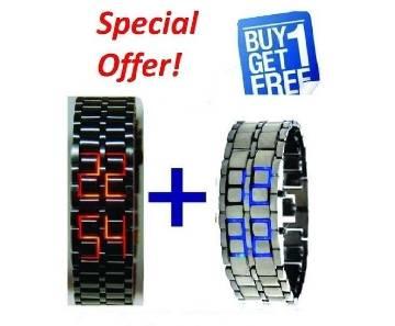 Samurai LED bracelet watch combo