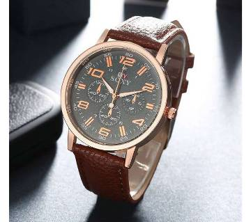 Soxy Chocolate Artificial Leather Analog Wrist Watch- copy