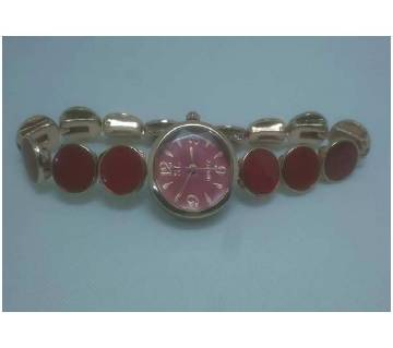 Red Analogue Wrist Watch For Women