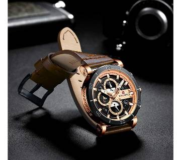 NAVIFORCE Men Watch Top Brand Luxury Sport Chronograph Military Army Watch Leather Quartz Male Clock 9131
