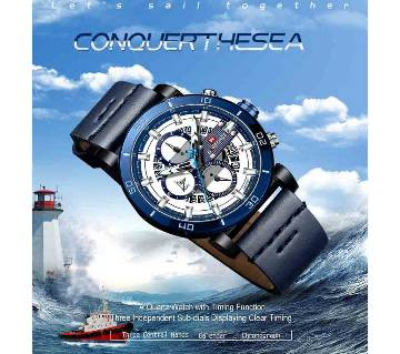 NAVIFORCE Sport Chronograph Watch Fashion Analog Leather Military Man Quartz Clock Relogio Masculino  Blue Timing