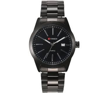 Curren 8091 Black Stainless Steel Wrist Watch for Men - Black