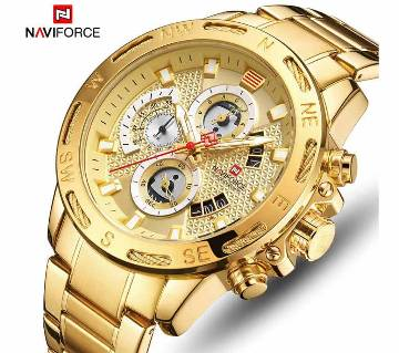NAVIFORCE 9165 Gold Men Waterproof Stainless Steel Quartz Watch Male Chronograph Military Clock Wrist watch Relogio Masculino